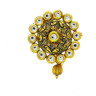 Anuradha Art Golden Finish Very Classy Designer Brooch/Sari Pin For Women