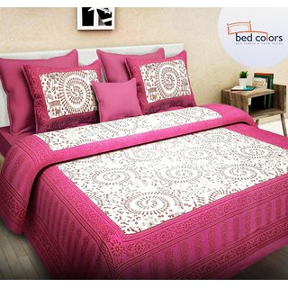 Bedcolors Jaipuri Print 100 Cotton Rajasthani Traditional King Size Double Bedsheet With 2 Pillow Cover