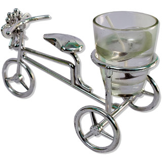 Decorative Fancy Tricycle Shape Gel Candle with Glass Outer and Stand  (Silver)