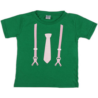 Pikaboo Tie Suspender Printed Kinitted Cotton T Shirt For Boy (6-12 Months)