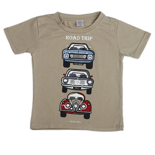 Pikaboo Car Road Trip Printed Kinitted Cotton T Shirt For Boy (2-3 Years)