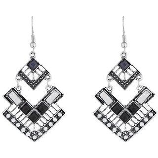 JewelMaze Rhodium Plated Black Resin Stone Dangler Earrings