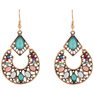 JewelMaze Multicolour Resin Stone Antique Gold Plated Dangler Earrings