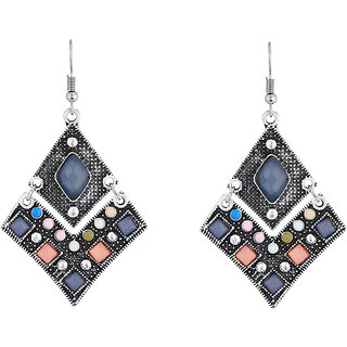JewelMaze Rhodium Plated Multicolour Resin Stone Dangler Earrings