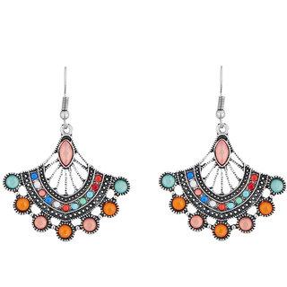 JewelMaze Rhodium Plated Multicolour Resin Stone Dangler Earrings