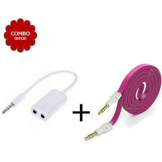 Sketchfab Combo Flat Aux Cable and Aux Splitter - Assorted Color