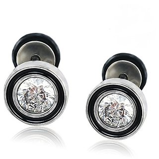 c030d771348bd 10MM Screw Stud Earrings with Round CZ, Stainless Steel Cheater Ear Plugs  Illusion Tunnel