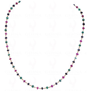 Ruby Sapphire Emerald Bead Chain Linked In .925 Silver - Yellow Polish