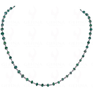 Emerald Gemstone Faceted Bead Chain Linked In .925 Silver Wire
