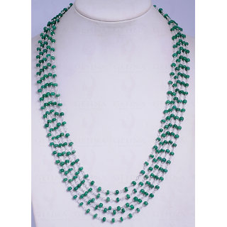 5 Rows Emerald Gemstone Bead Necklace Linked In .925 Silver
