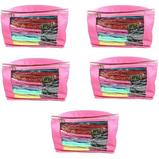 DIMONSIV Plain 10 Inch Ladies Large Non - Woven 5saree Cover. Upto 10 - 15 Saree Cover each  (Pink)