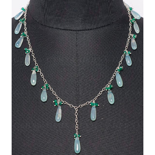 blue chalcedony & green onyx drop & bead shape knotted in chain necklace