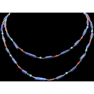 Lapis Lazuli, Coral & Turquoise Gemstone Chain Linked In 925 Silver
