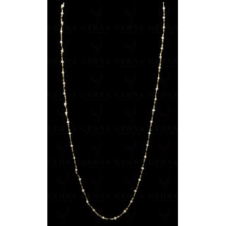 Black Spinel & Moonstone Faceted Bead Chain .925 Sterling Silver
