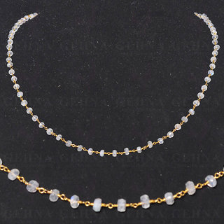 white rainbow gemstone faceted bead chain in .925 sterling silver