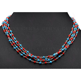 Turquoise & Coral Gemstone Bead Chain Knotted In .925 Sterling Silver