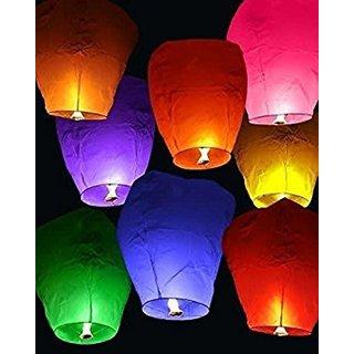 DealBindaas Flying Lantern Flying Saucer's Flying Lantern Sky Lantern-Pack of 10 Multicolor Paper Sky La