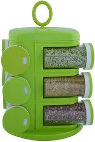 Ankur Revolving 12 Jars Spice Rack- Green