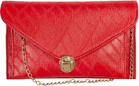 Levise London Artificial Leather Red Color Sling Bag Fo
