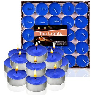 6th Dimensions Scented Tea Light Set Of 50 Pieces Blue Tea Light Candles