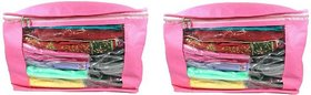 DIMONSIV  Plain 10 Inch Ladies Large Non - Woven 2saree Cover. Upto 10 - 15 Saree Cover each  (Pink)