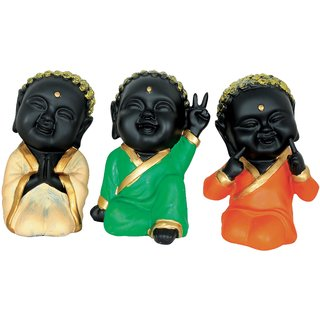 Grazzo Smiling Child Buddha God Idol Inner Luck Peace Polyresin Home Decor Gift Orange Green Beige Showpiece
