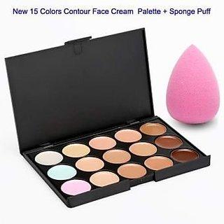 m.n 15 Colors Contour Face Creme Makeup Concealer Palette + foundation blender