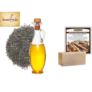 Pure and Natural Poppy Seed Oil - 250ml with Argussy Cinnamon and Black Sesame Whitening Spa Soap