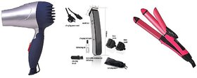 Combo Set Of Branded Hair Dryer + Mens Rechargeable Cordless NS -216 Trimmer + 2 IN1 Hair Straightener And Hair Curler