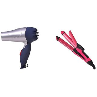 Combo Set Of Branded Hair Dryer 1000 Watt + 2 IN 1 Hair Straightener And Hair Curler