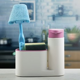 Kreativekudie Soap Dispenser Pump, Sponge and Scrubber Caddy Over the Sink Caddy Dish Brush Organizer for Kitchen Sink