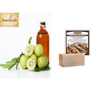 Pure and Natural Amla Oil - 250ml with Argussy Cinnamon and Black Sesame Whitening Spa Soap