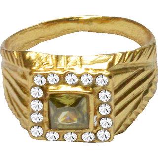 Men Style Cubic Zircon Diamond  Reactangle Yellow Stone Wedding  Gold Brass Ring For Unisex