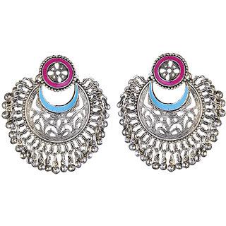 JewelMaze Purple And Blue Meenakari Rhodium Plated Afghani Earrings