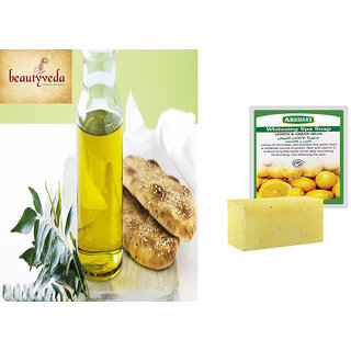 Pure and Natural Curry Leaves Oil - 250ml with Argussy Lemon and Green Bean Whitening Spa Soap