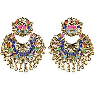 JewelMaze Multicolor Meenakari Gold Plated Afghani Earrings