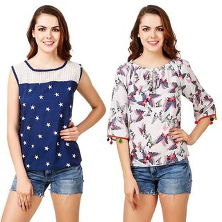 Calicovilla Blue Printed Round Neck Basic For Women