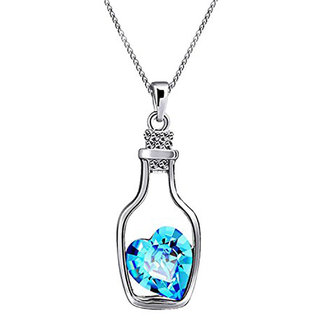 Oviya Rhodium Plated Solitaire Crystal Heart Bottle Pendant for Women PS1101606Blu