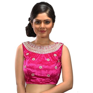 d16c24db34b7f Buy Intrigue Pink Velvet Stitched Blouse Online - Get 12% Off