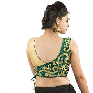 3078cc4ea86240 Buy Intrigue Green Velvet Stitched Blouse Online - Get 22% Off