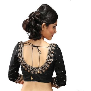 2f541877077eb3 Buy Intrigue Black Dupion Silk Stitched Blouse Online - Get 15% Off