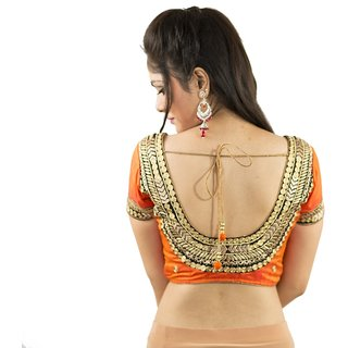 0e6e5deb0ad Buy Intrigue Orange Raw Silk Stitched Blouse Online - Get 12% Off