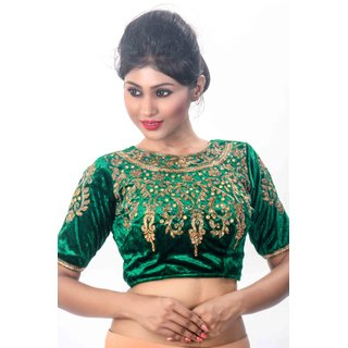 6c58d355ce8ef Buy Intrigue Green Velvet Stitched Blouse Online - Get 9% Off