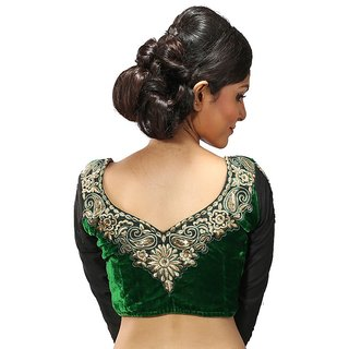 9b45a3cf9fd386 Buy Intrigue Green Velvet Stitched Blouse Online - Get 17% Off