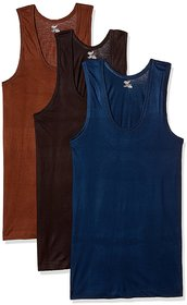 RUPA JON Men's Colour Cotton Vest (Pack of 3) (Colors May Vary)