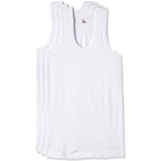 RUPA JON Men's White Cotton Vest  Pack of 3
