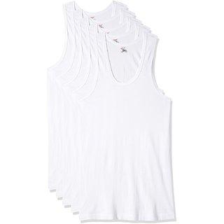 RUPA JON Men's White Cotton Vest (Pack of 5)