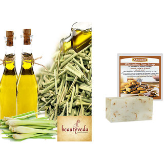 Pure and Natural Lemon  Grass Oil - 100ml with Argussy Almond and Safflower Whitening Spa Soap