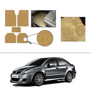 AutoStark Anti Slip Noodle Car Floor Mats Set of 5-Beige For Maruti Suzuki SX4
