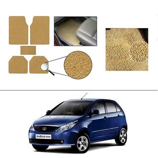 AutoStark Anti Slip Noodle Car Floor Mats Set of 5-Beige For Tata Indica Vista